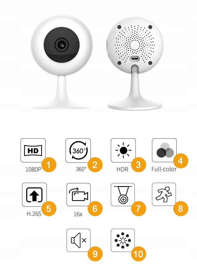 IMILAB MI HOME 1080p H.265 Kamera IP 64GB NIANIA Typ kamery kolorowa na podczerwień