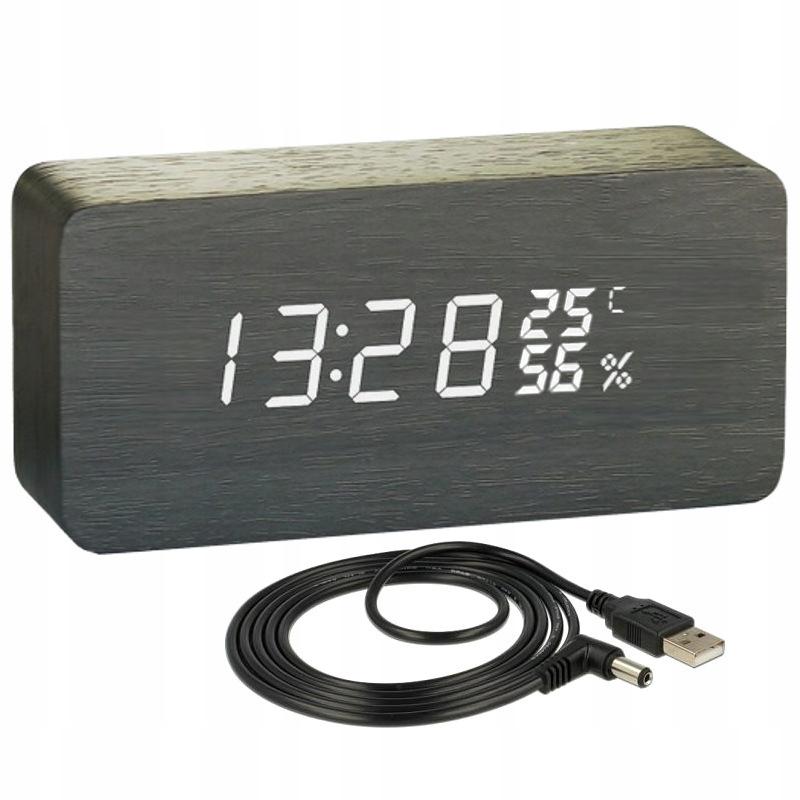 WOODEN LED CLOCK будильник USB термометр гигрометр