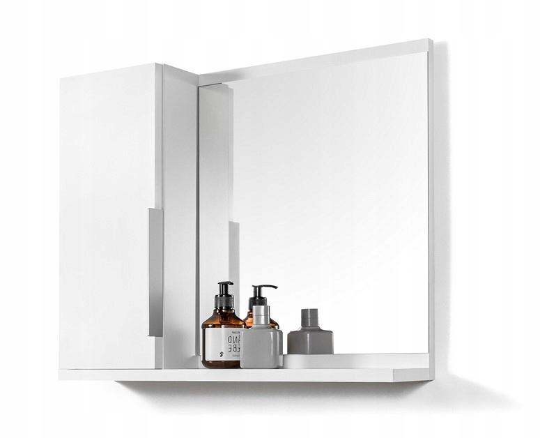 Biała szafka z lustrem łazienkowa z półkami LUSTRO