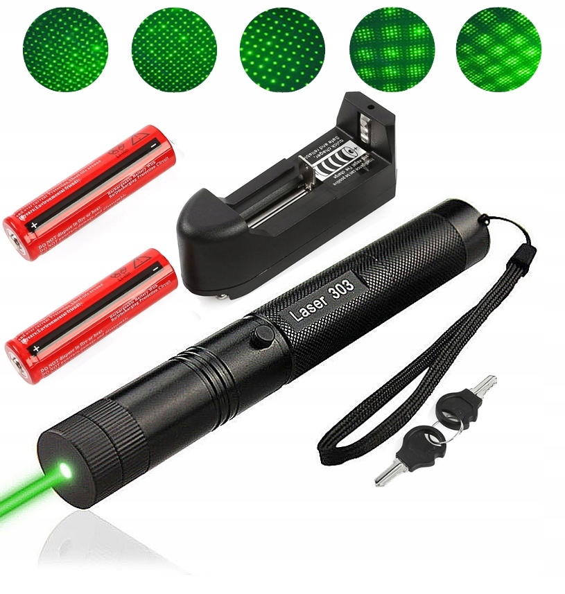 Item GREEN LASER, LASER POINTER mW 50000 + 1 BATTERY.
