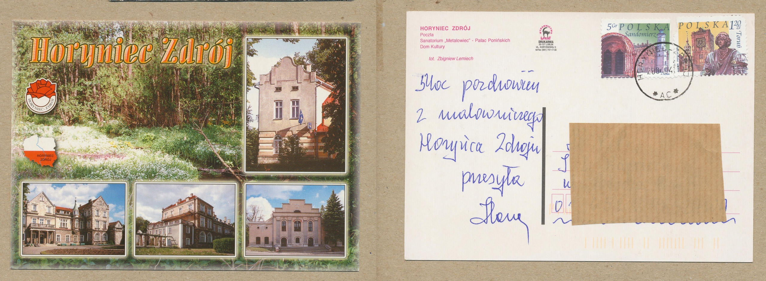POCZTÓWKA - HORYNIEC-ZDRÓJ mix zdjęć 2004 r.