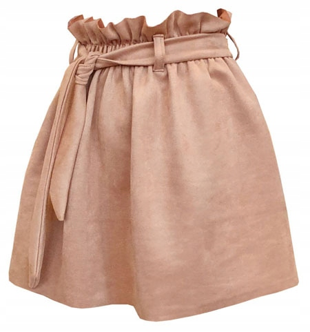 S PASEK CAMEL spódnica zamszowa na gumie mini 36