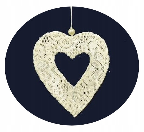 Декоративный кулон, белое сердце, 15 см. День святого Валентина.
