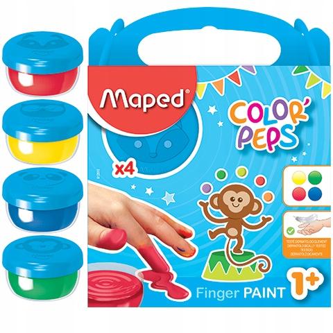 Купить Краски Maped для рисования руками 4 цв, малыши 1+ на Otpravka - цены и фото - доставка из Польши и стран Европы в Украину.