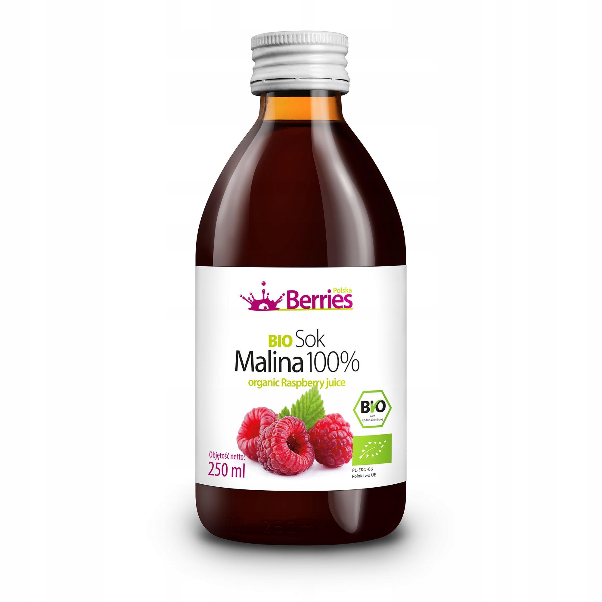 Sok BIO Malina 100% Ekologiczny sok malinowy 250ml