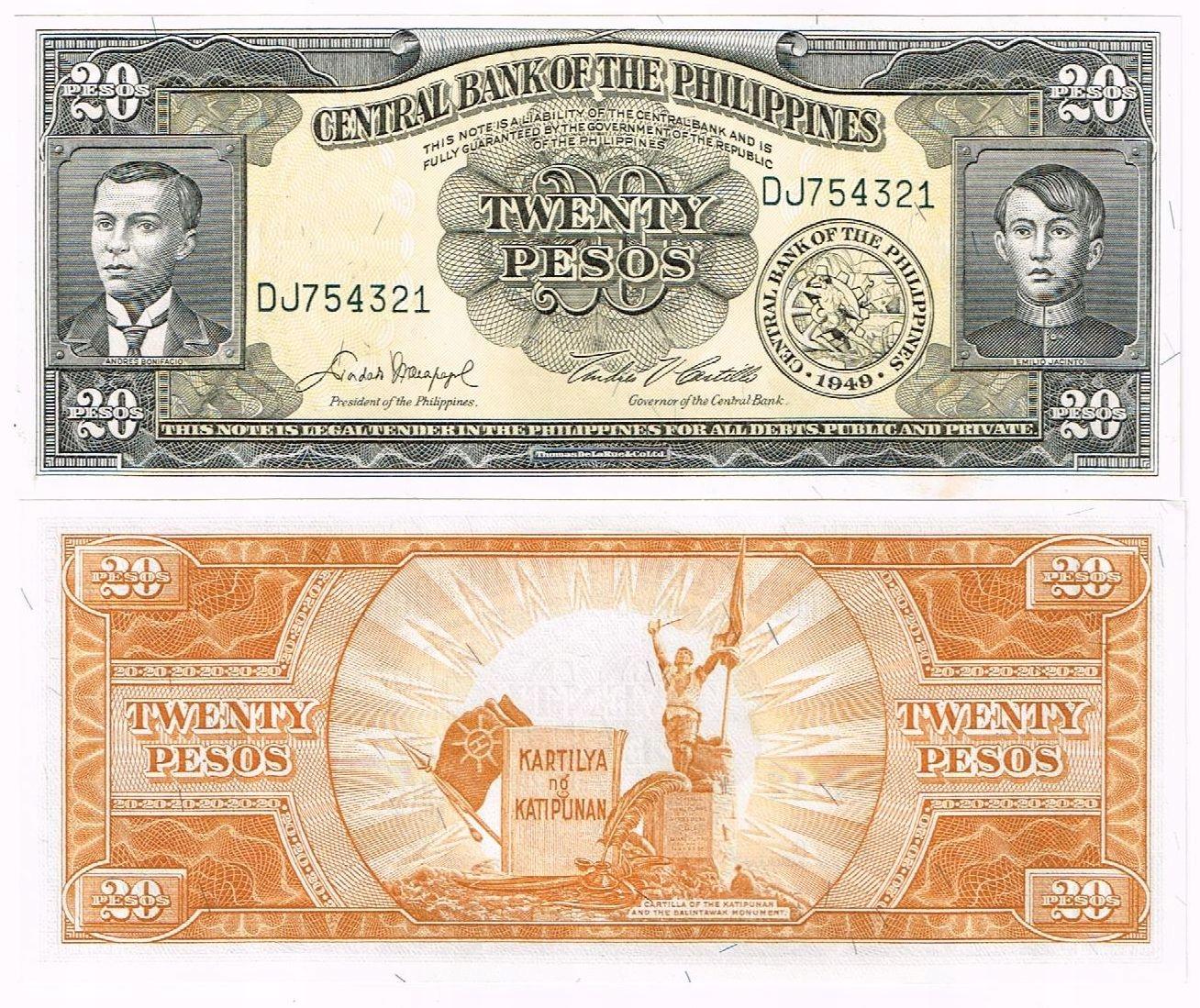 Банкнота Филиппин 20 песо Английский P-137d UNC Promo