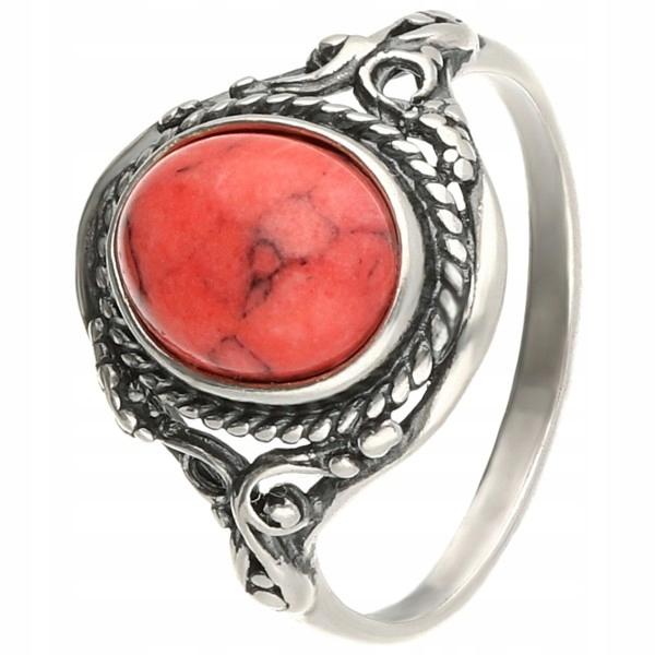 Retro strieborný prsteň s koralovým opletením 20