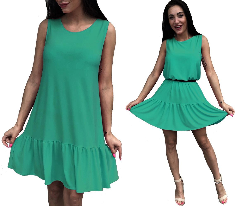 letnia lejąca sukienka falbana Miętowa 46 dłuższa?
