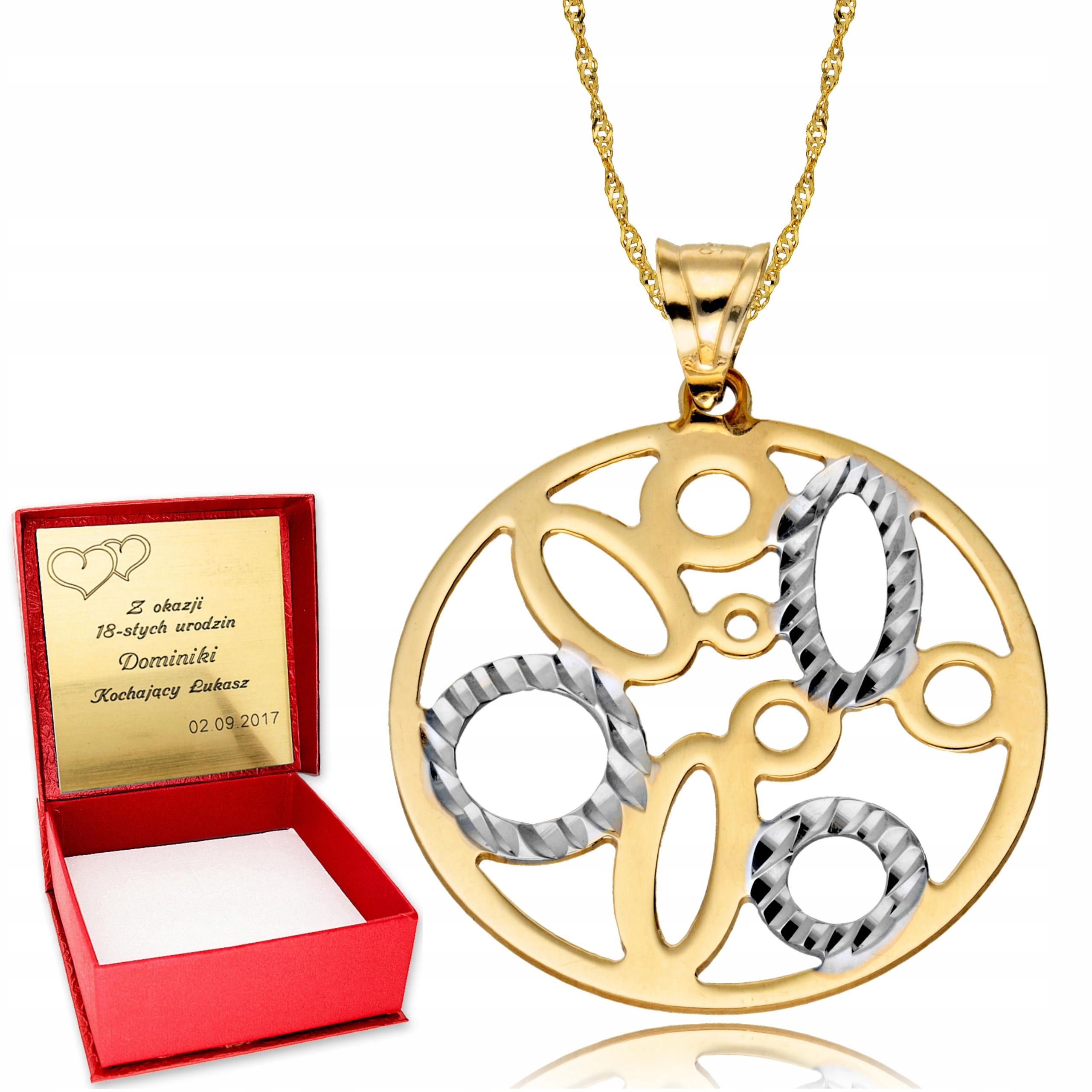 585 zlata Reťazca prívesok kruh náhrdelník Ryté