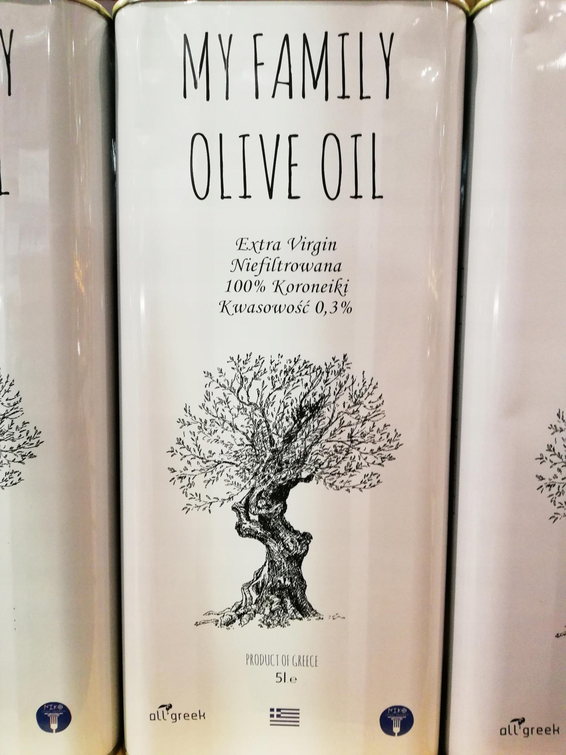 ČERSTVÉ, NIEFILTROWANA grécky Domáci Olivový olej 5L