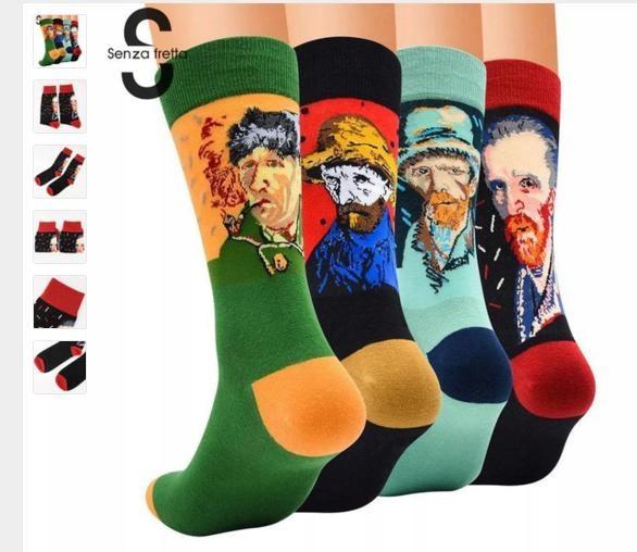 Ponožky retro na Bunny van Gogh unisex čierna