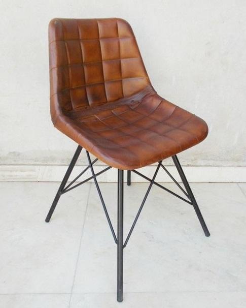 Stolička vintage priemyselných kovov prípadoch kožené waw