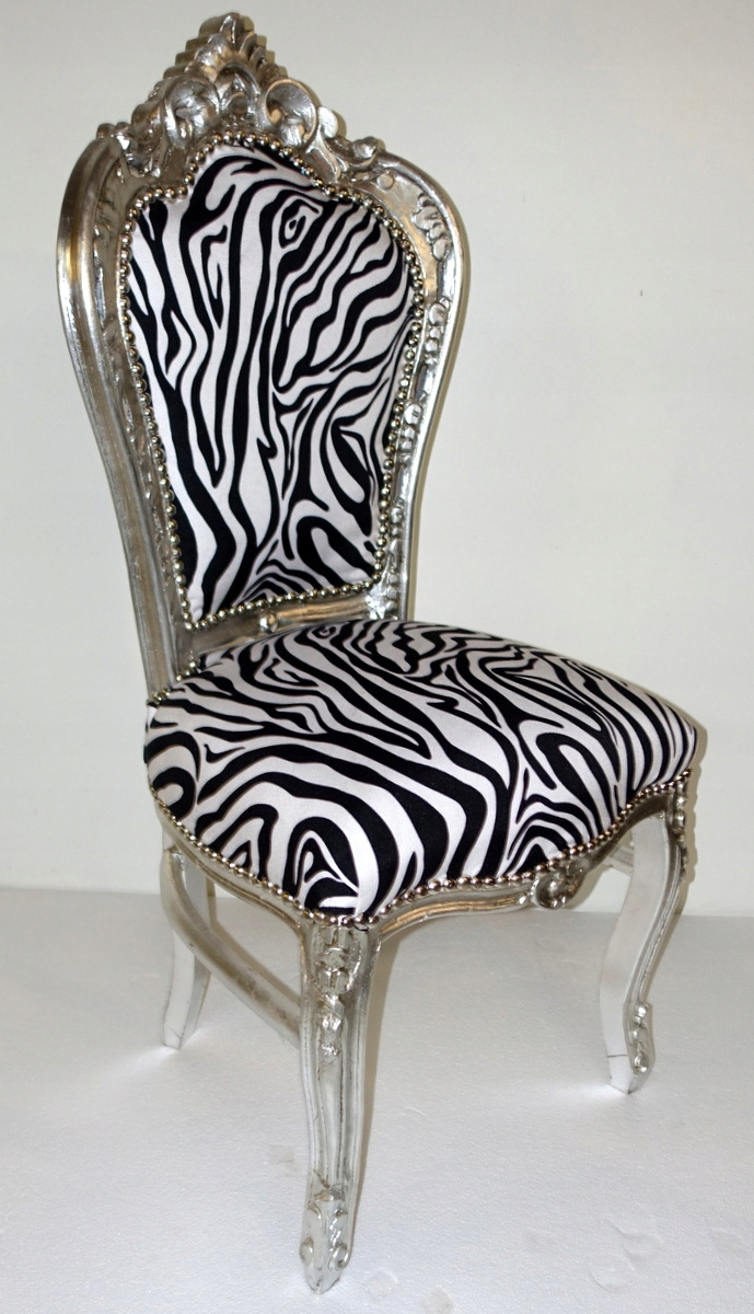 Item STYLISH chair in BAROQUE-style, silver - Zebra CHAIR