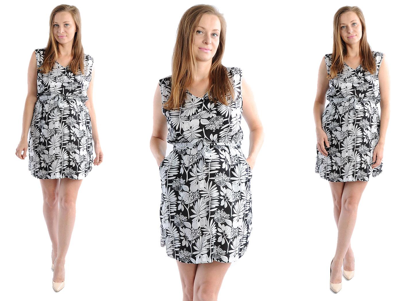 Zwiewna Sukienka Kwiaty Laemi 582 Czarna XL 42