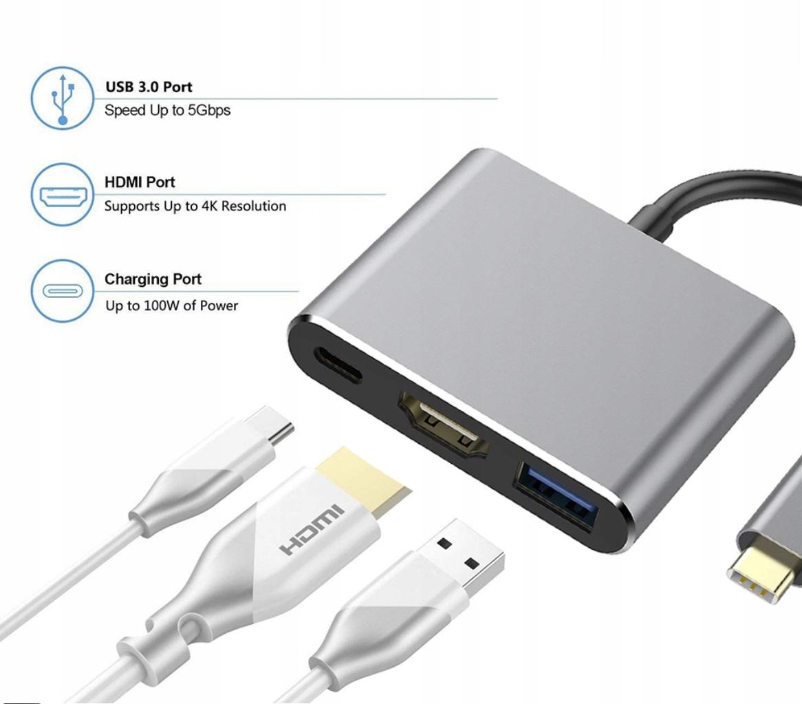 Купить Адаптер Адаптер 3 в 1 КОНЦЕНТРАТОР USB-C, HDMI 4K ver2020 на Otpravka - цены и фото - доставка из Польши и стран Европы в Украину.