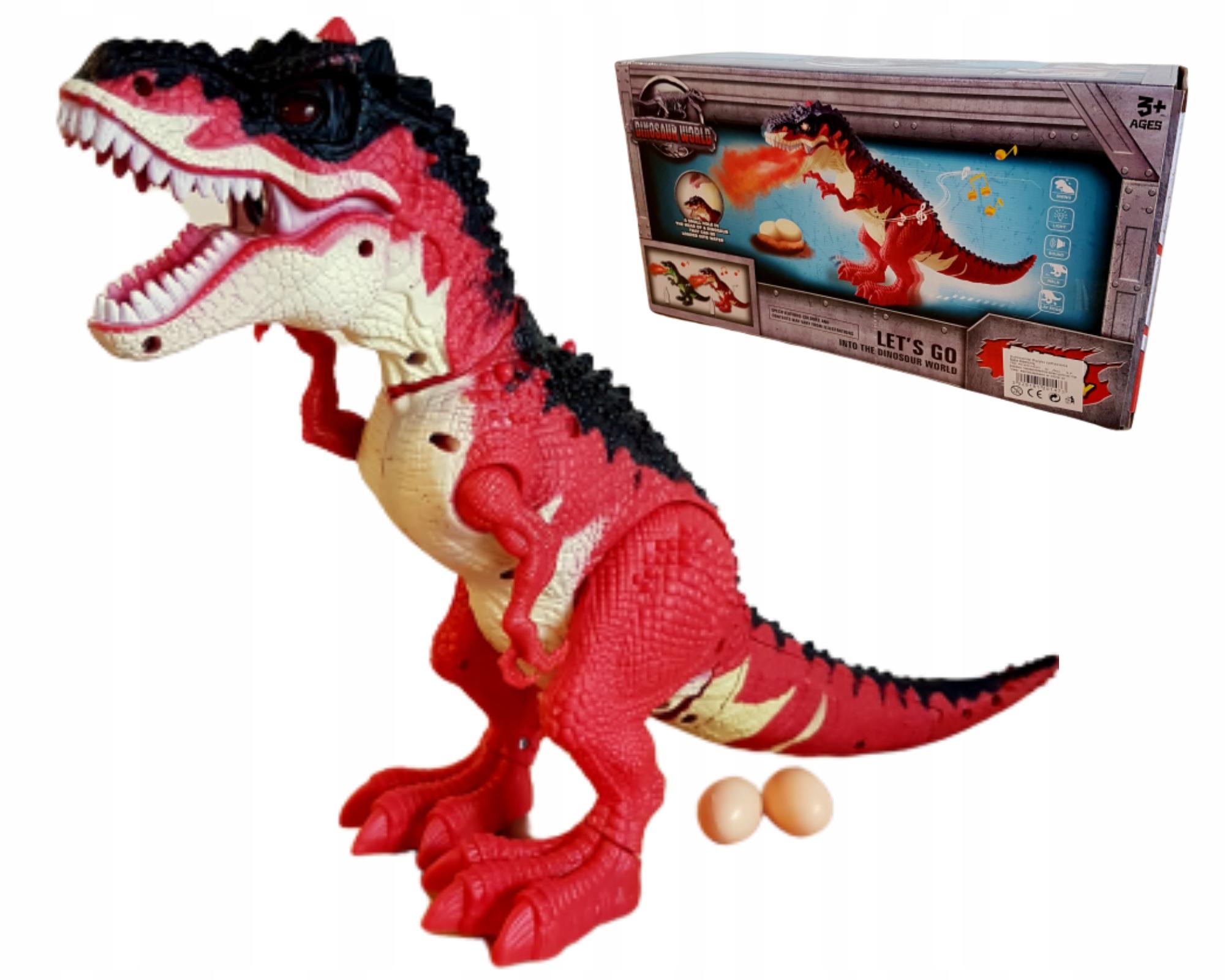 VEĽKÝ dinosaurus chodí reve výťahy vajcia dýcha dym