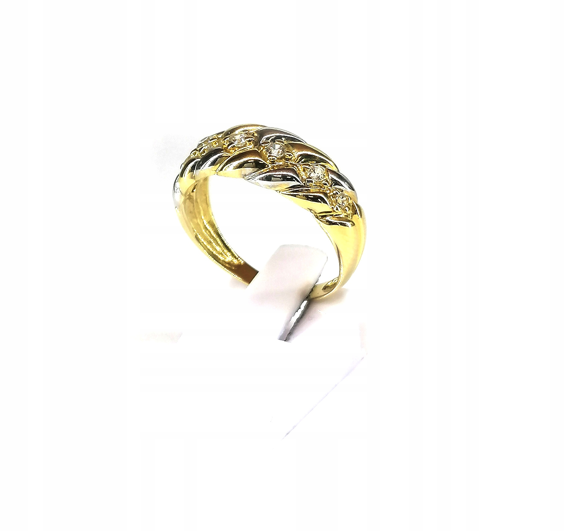 Zlatý prsteň s 585 cyrkoniami z 4.19 g r 17 M