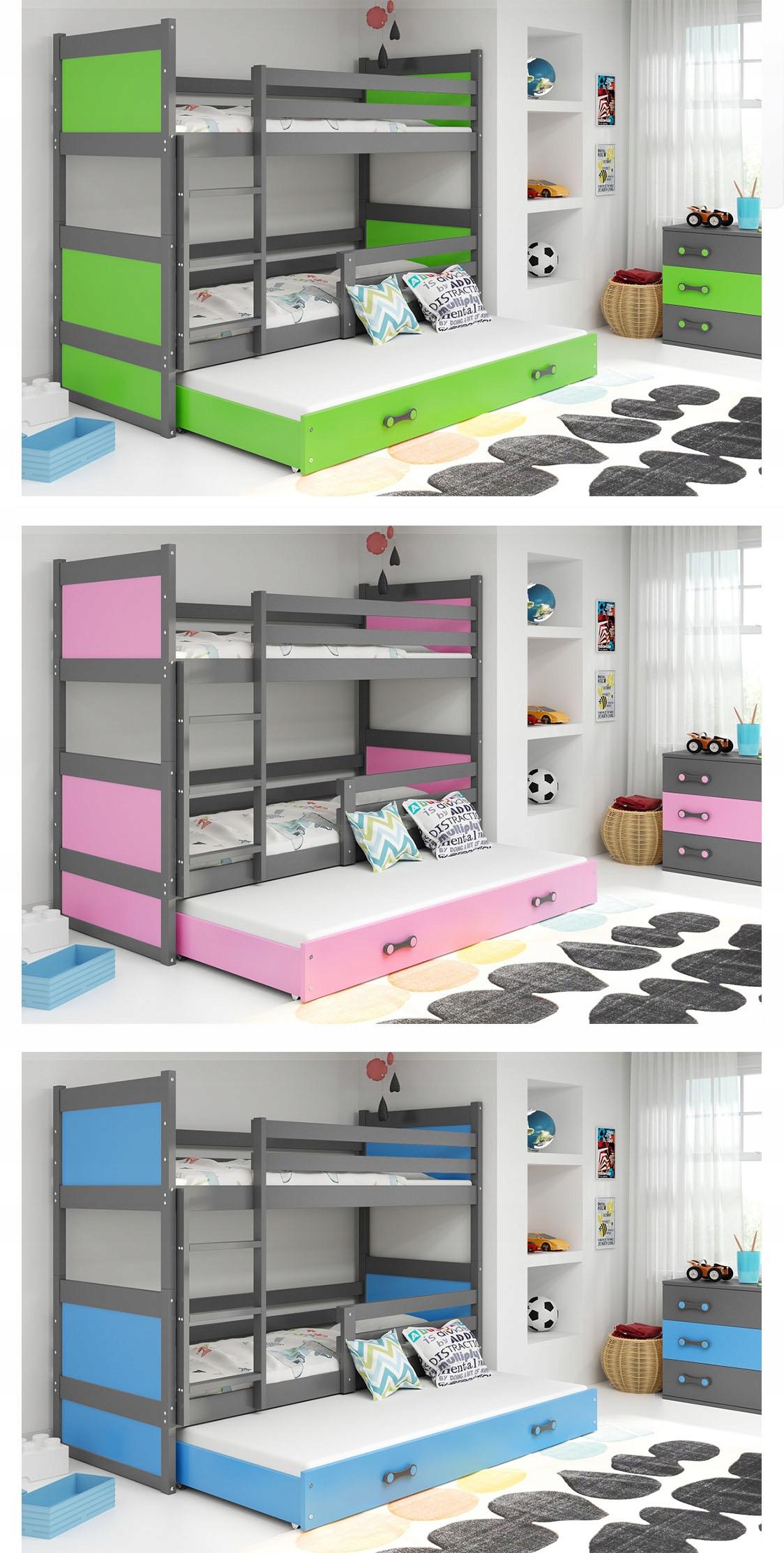 Łóżko Rico dla dzieci 190x80 piętrowe 3 osobowe Kod producenta 30119011202801101153519151