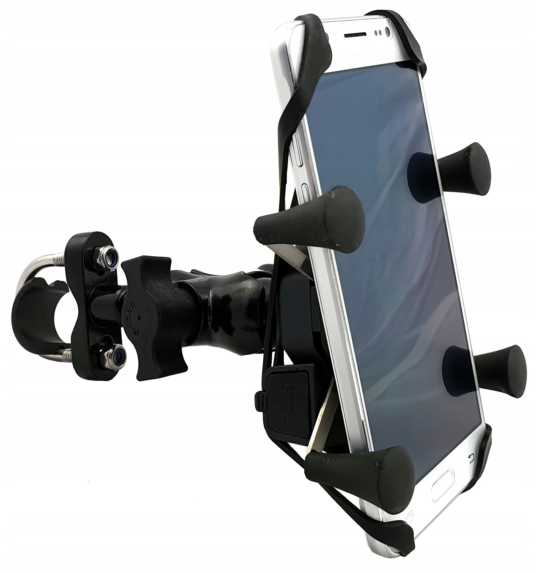 Item MOTORCYCLE PHONE HOLDER RAM HANDLEBAR ON/OFF