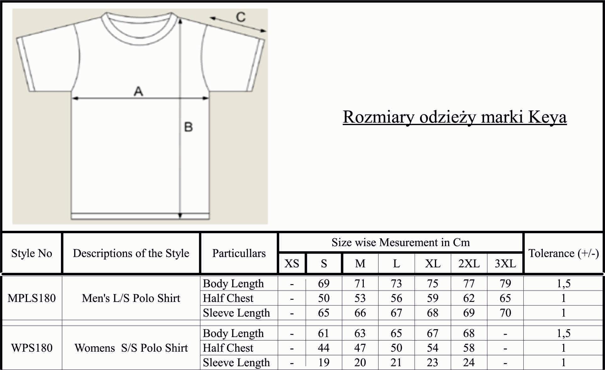 Dla tej kategorii odzieży stosujemy typowe rozmiary damskie