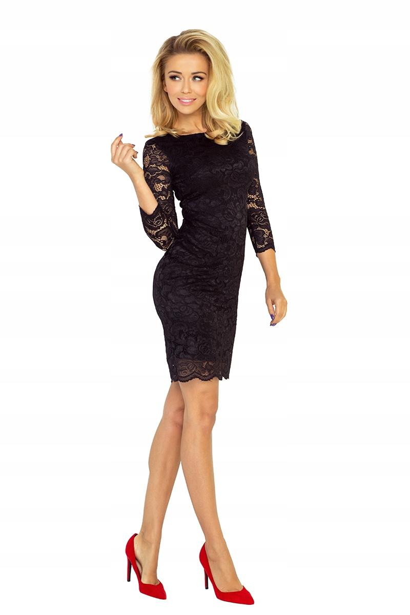 Sukienka mini koronkowa Rękaw 3/4 Czarna L 40