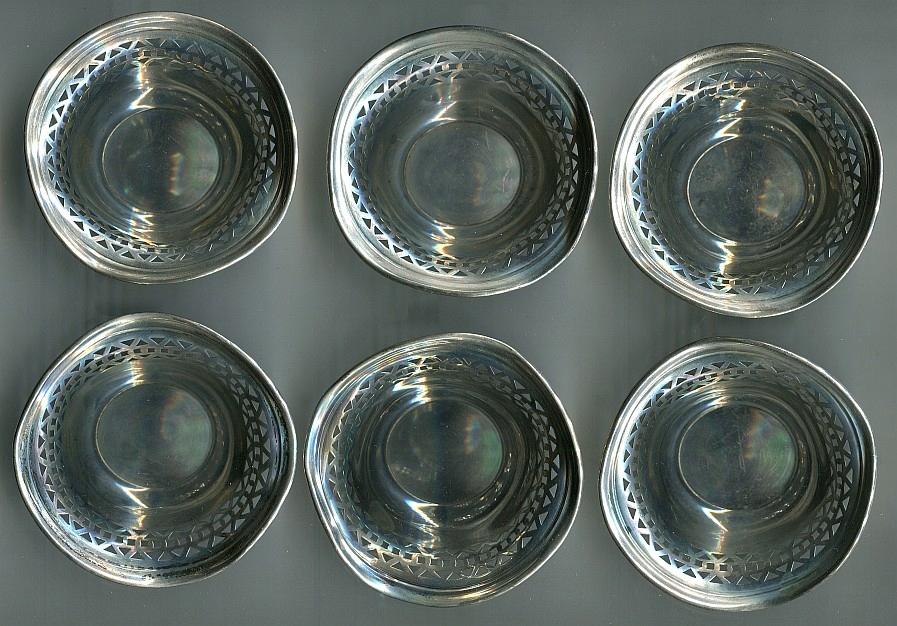 6 miseczek srebrne -Sterling pr. 925