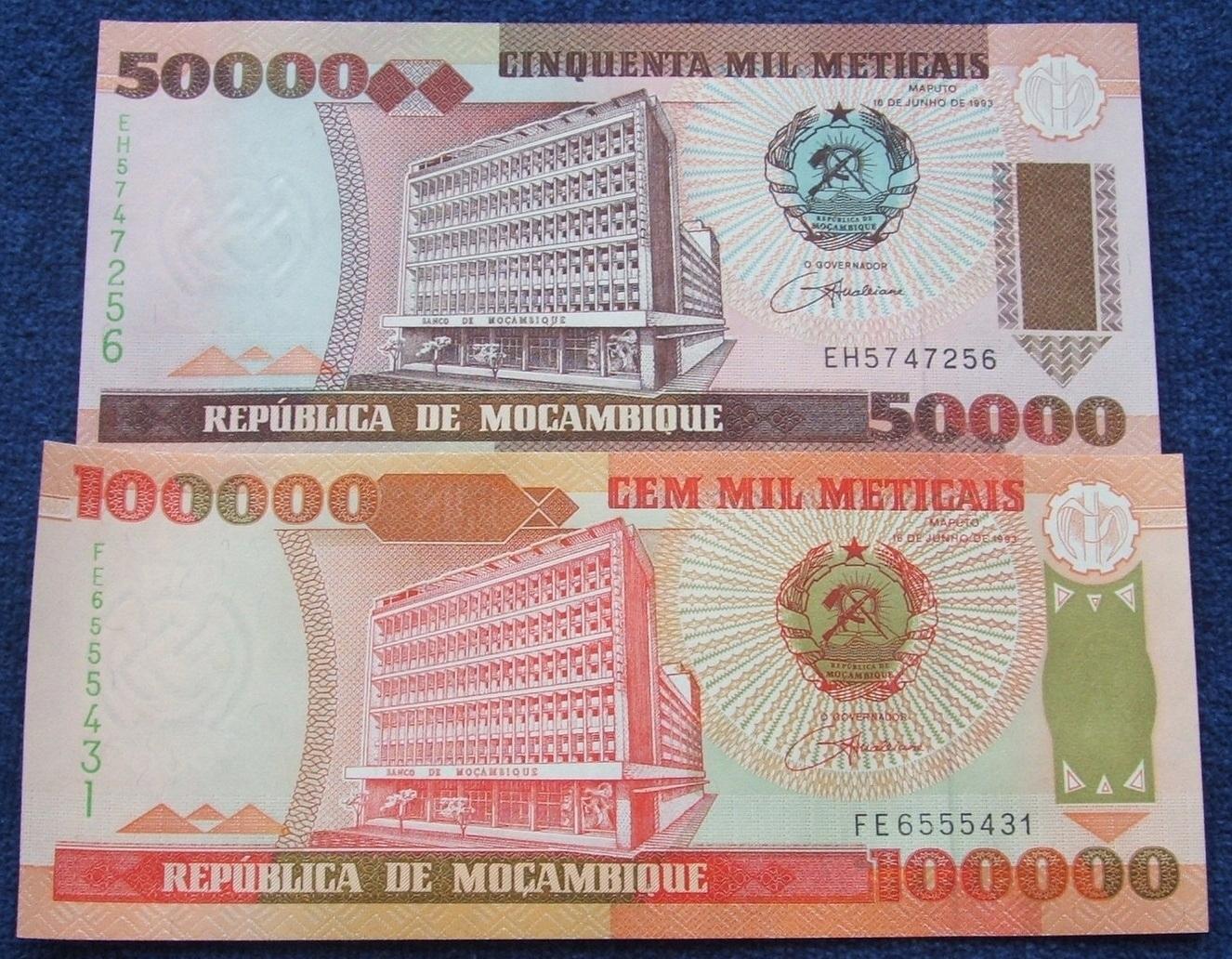 ZESTAW BANKNOTÓW MOZAMBIK !!! STAN UNC !!! SUPER