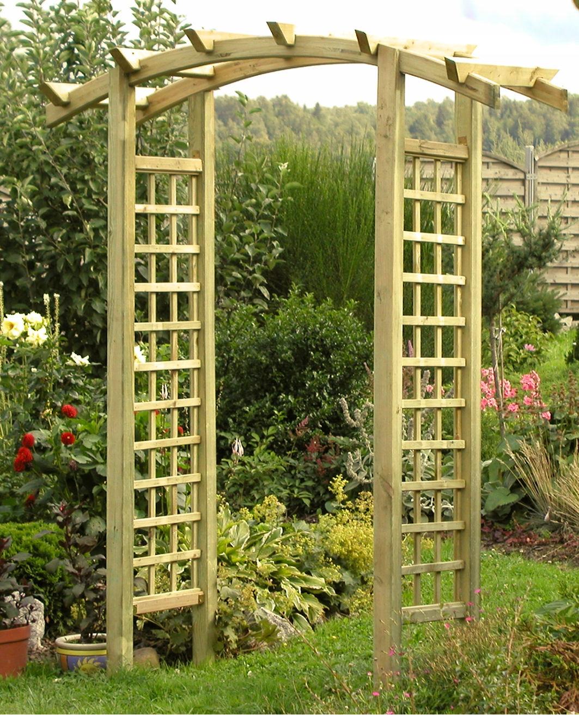 Drevená pergola s oblúky bránou panel mriežka