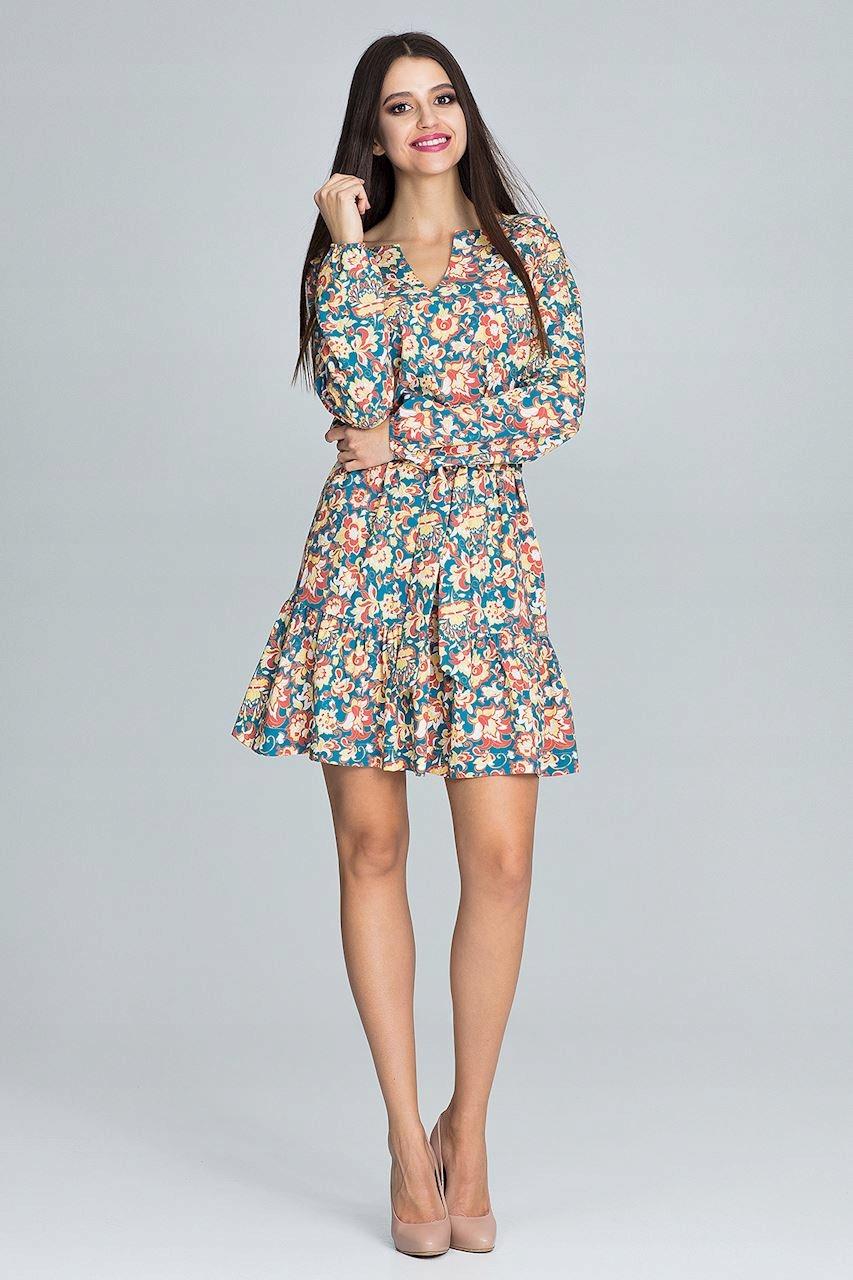 Boho Sukienka Mini Zwiewna Kwiaty Wzory L/XL