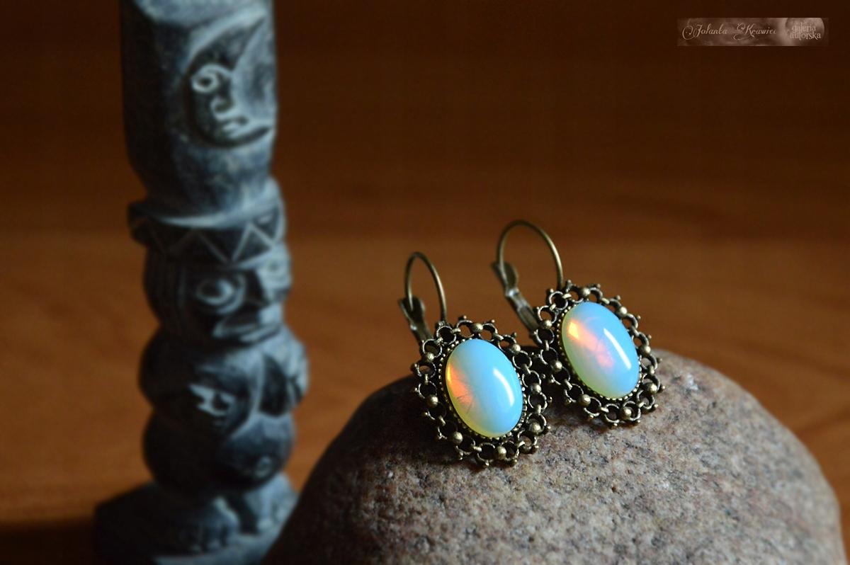 Opal Opalit Náušnice Vintage Kolekcia z Galérie