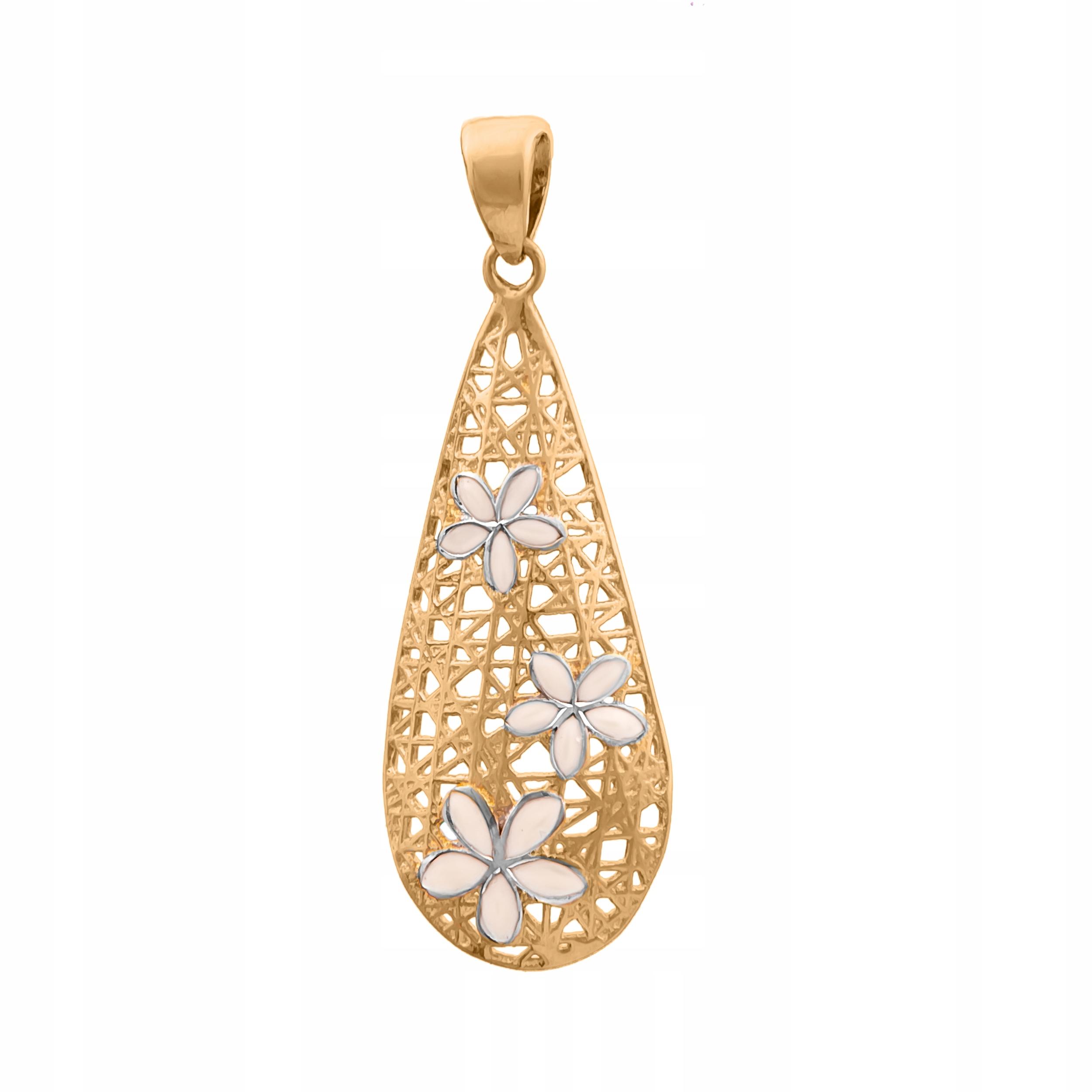 Zlatý Prívesok pr585 Kvety Biele Zlato RYTCA