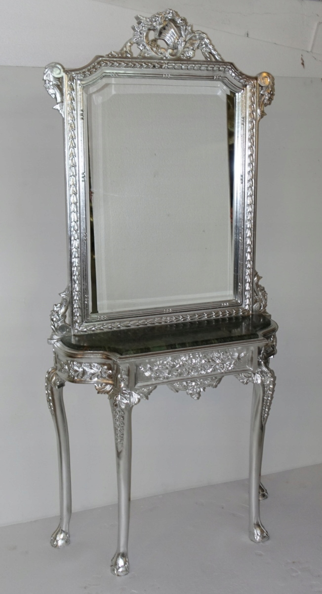 Item Stylish SILVER CONSOLE with mirror, marble COUNTERTOP