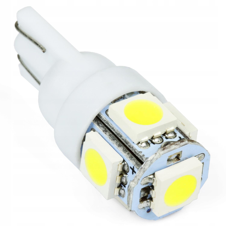 Лампа W5W 5x LED 5050 T10 W3W SMD 3-х диодная