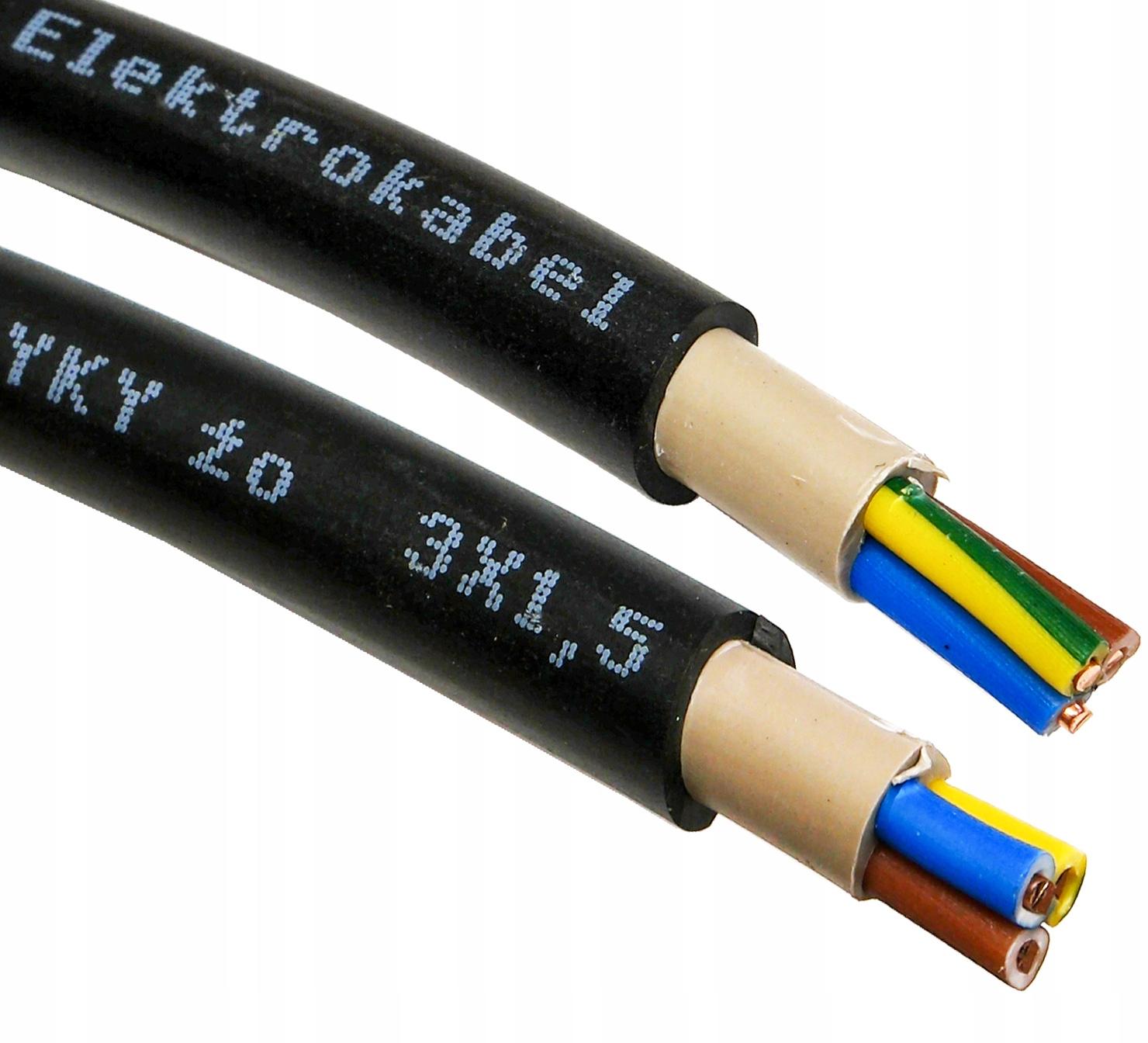 kabel przewód YKY 3x1,5 mm ziemny UV zewnętrzę 25m