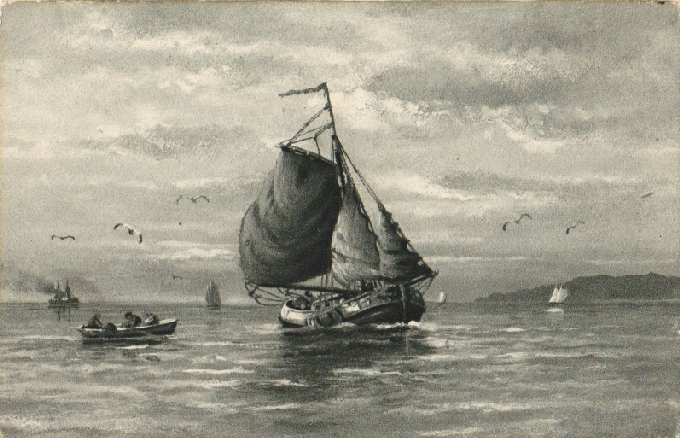 Morská téma. Plachetnica. 1915