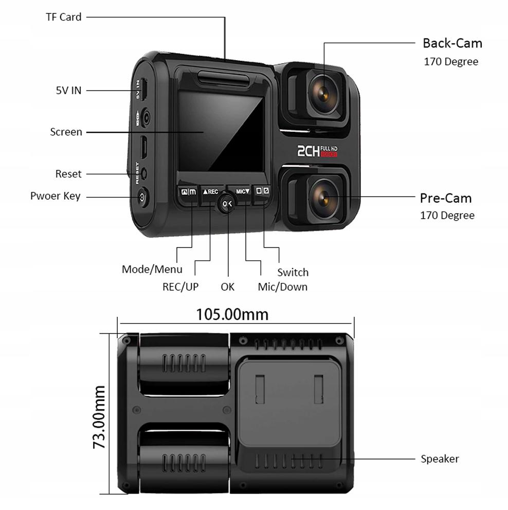 """KAMERA SAMOCHODOWA TAXI 4K+GPS REJESTRATOR ULTRAHD Przekątna ekranu 2"""""""