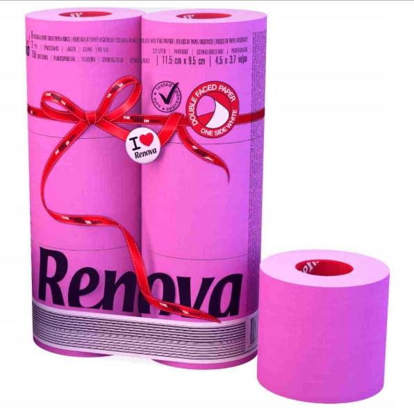 Туалетная бумага RENOVA Red Label Maxi FUCSIA 6шт