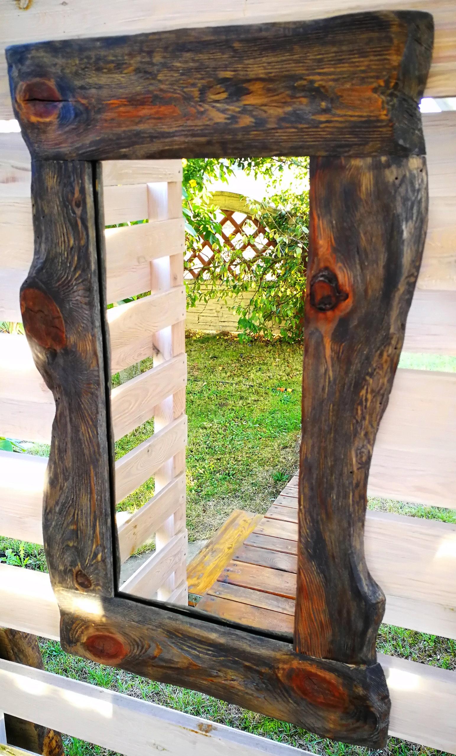 Zrkadlo vintage dreva, zrubové loft postarzon