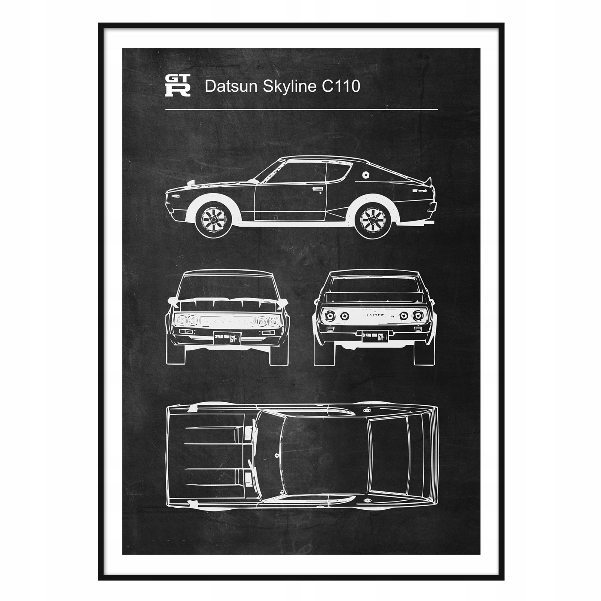 Plagát, Datsun Skyline C110 Retro-Patent Schémy