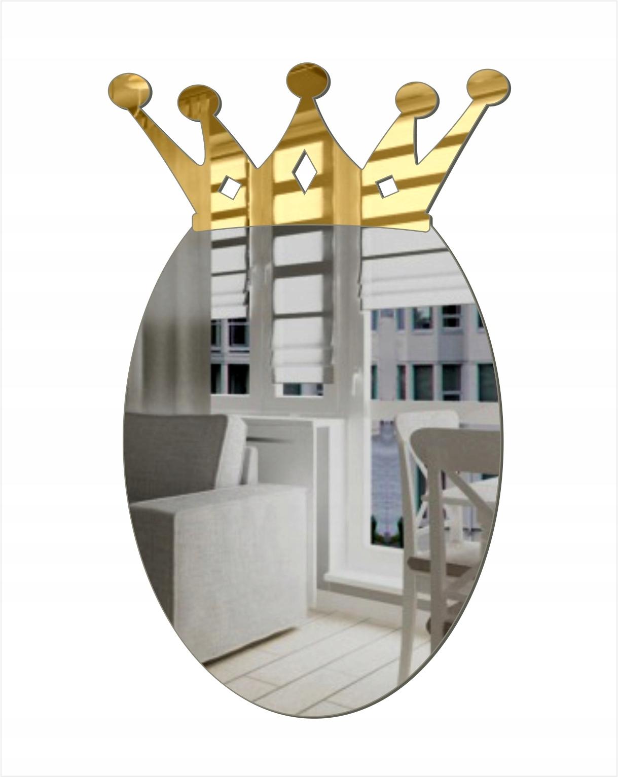 Декоративное овальное акриловое зеркало в короне