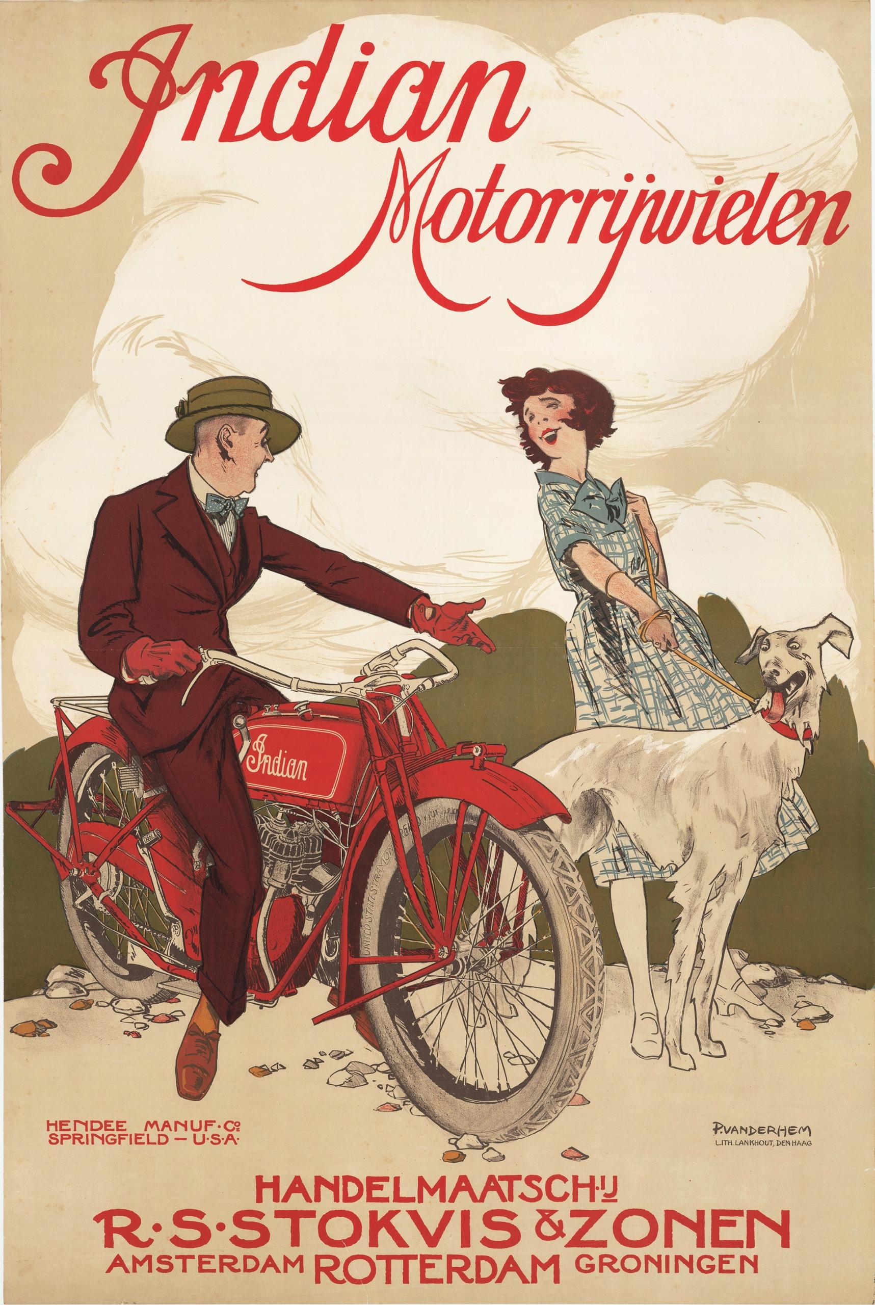 плакат автомобильные мотоцикл INDIAN 91x61 см.