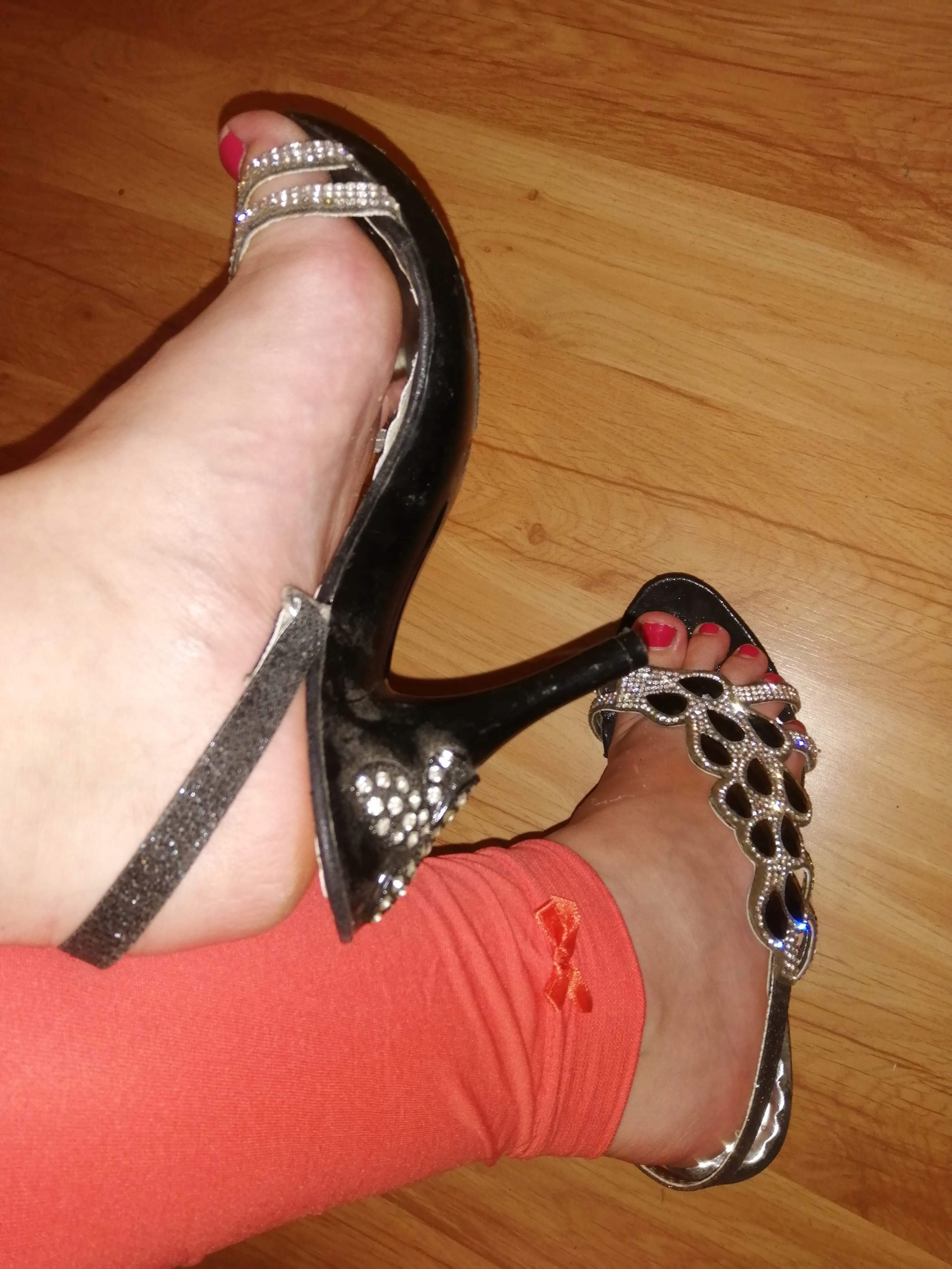 Item Black shoes sandals rhinestones 36 used Fetish