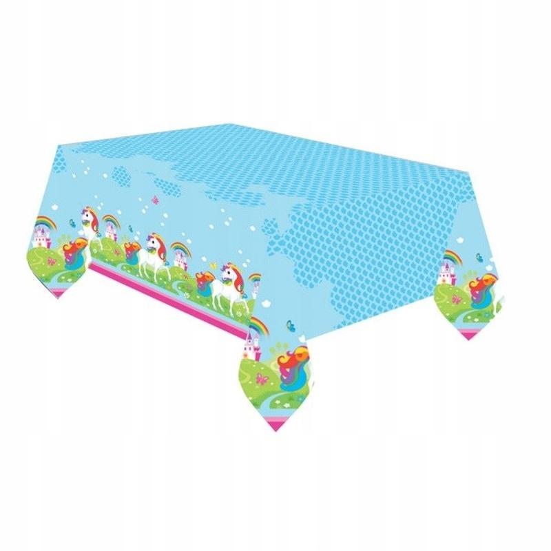 Пластиковая скатерть с единорогом на день рождения - 120x180см