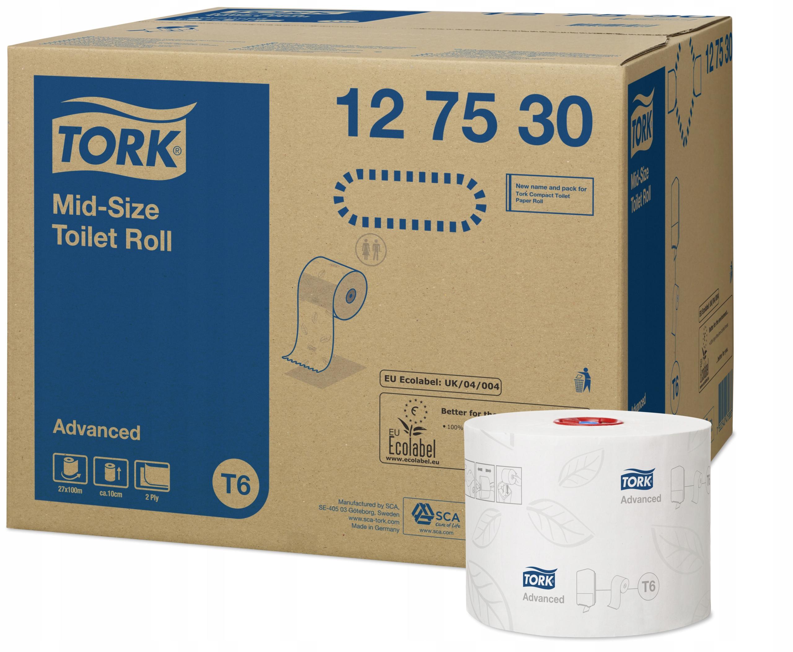 Туалетная бумага Mid-size 2w, T6x27r. Tork 127530