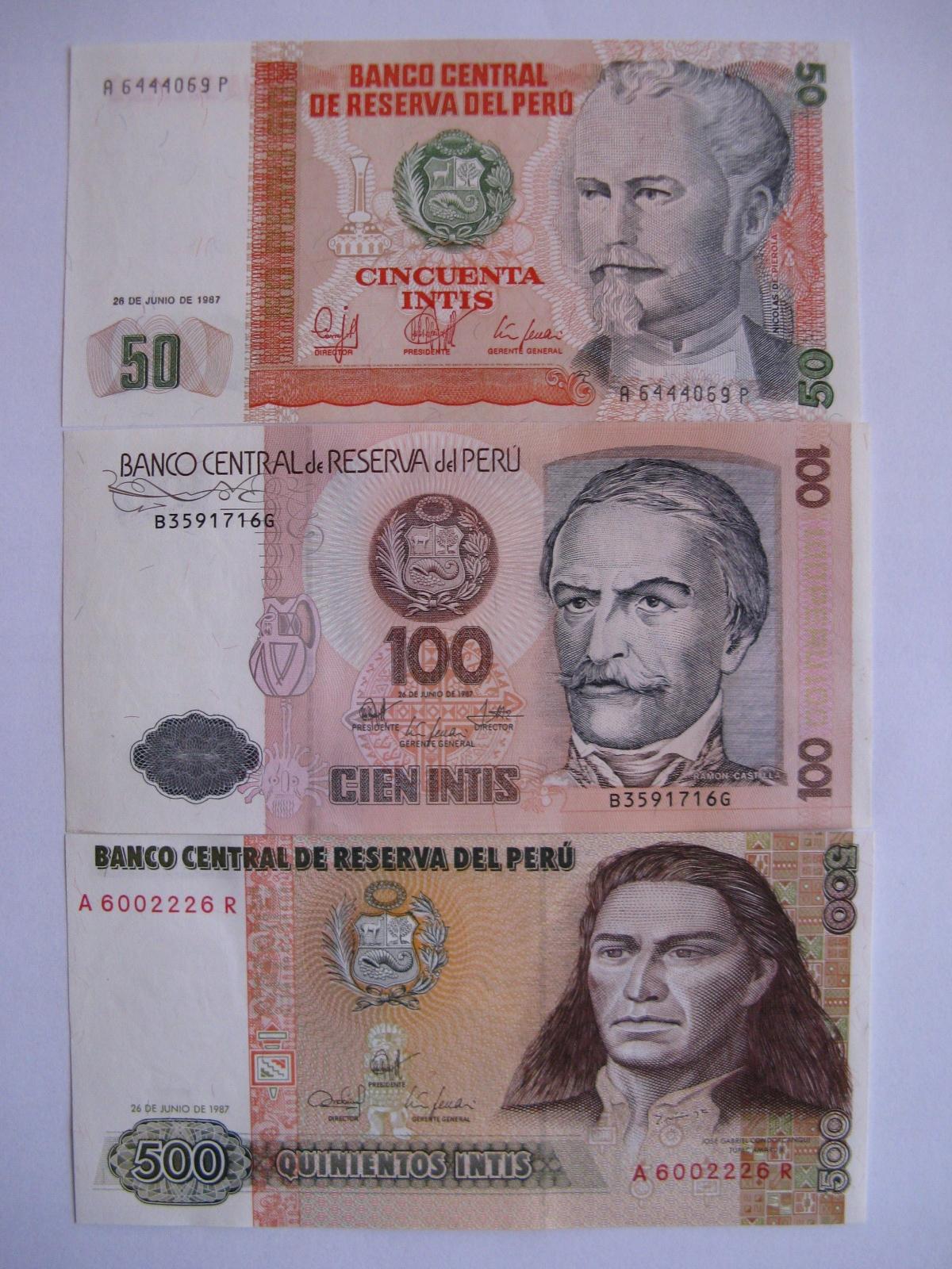 Peru - 50,100,500 Intis - 1987 -P131,133,134 -St.1