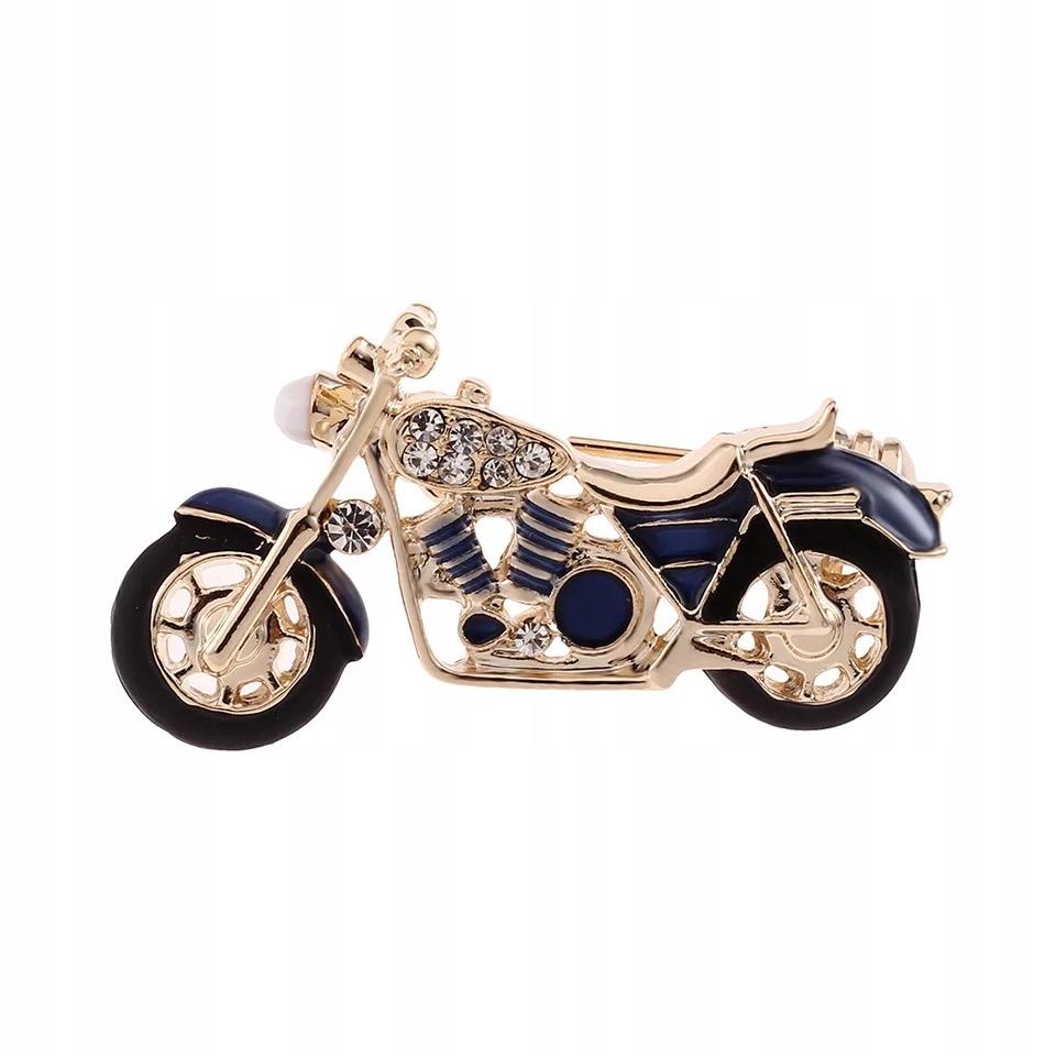 Broszka Motocykl granatowy zdobiony Cyrkonie