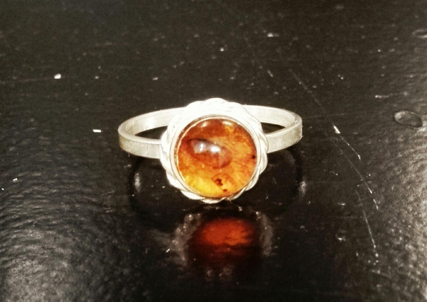 amber vintage nastavovací krúžok + náramok