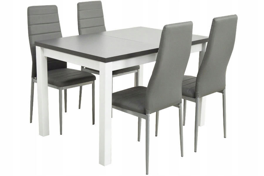 Небольшая современная гостиная со столом и 4 стульями.