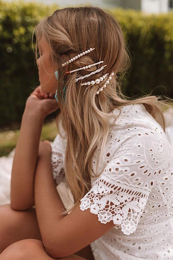 НАБОР заколка заколка для волос золото драгоценные камни 5 ШТ