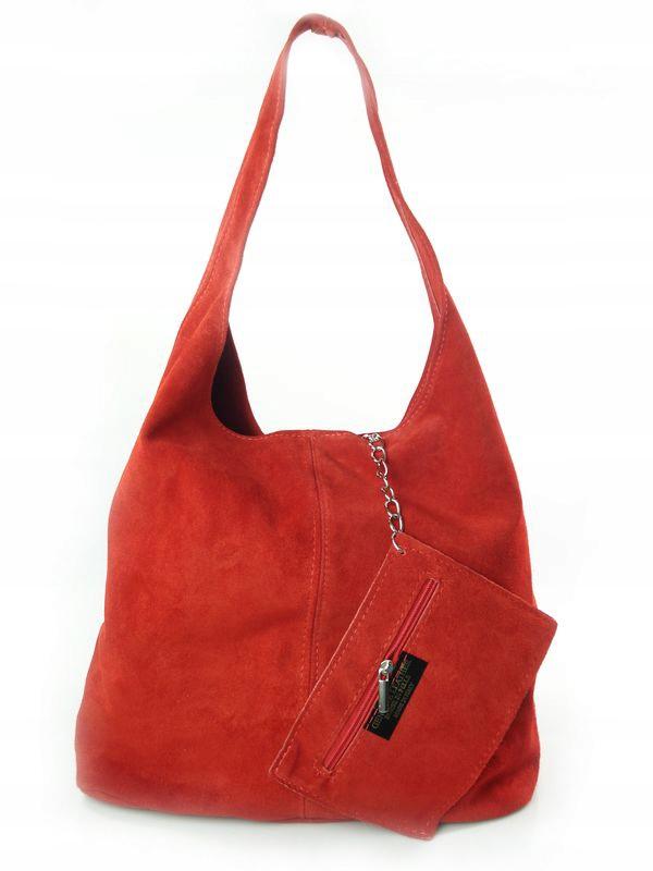 Zamszowy Worek Włoska Skóra Shopper Bag Czerwony